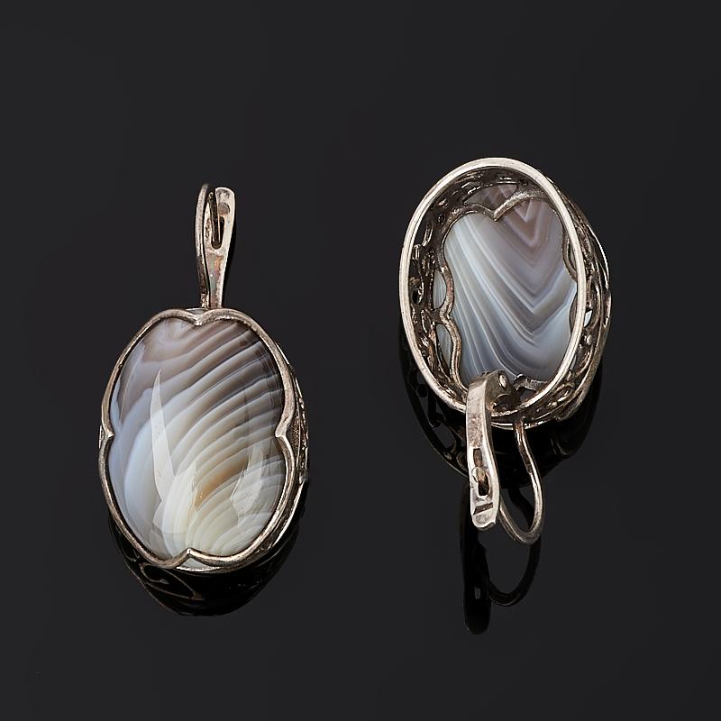 Серьги агат серый Ботсвана (серебро 925 пр.)
