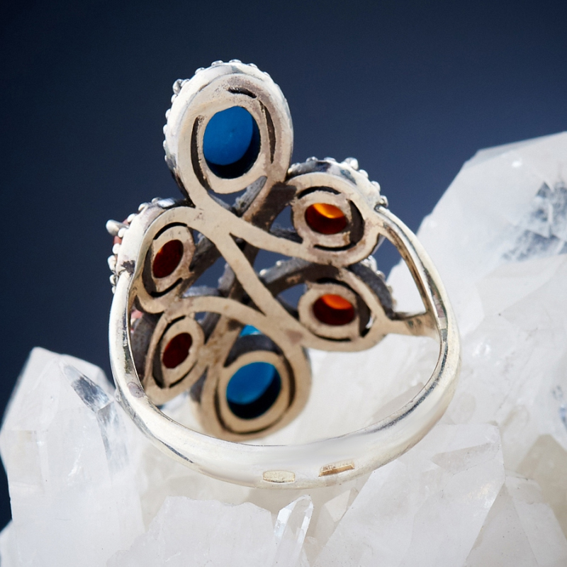 Кольцо бирюза, сердолик (серебро 925 пр.) размер 18,5