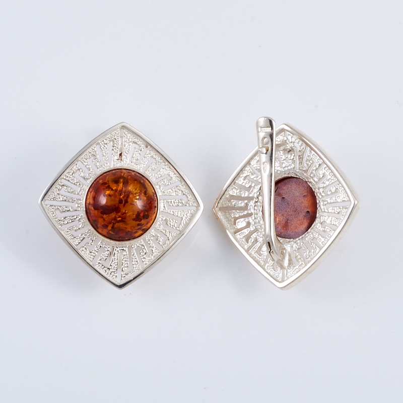 Серьги янтарь  (серебро 925 пр.)