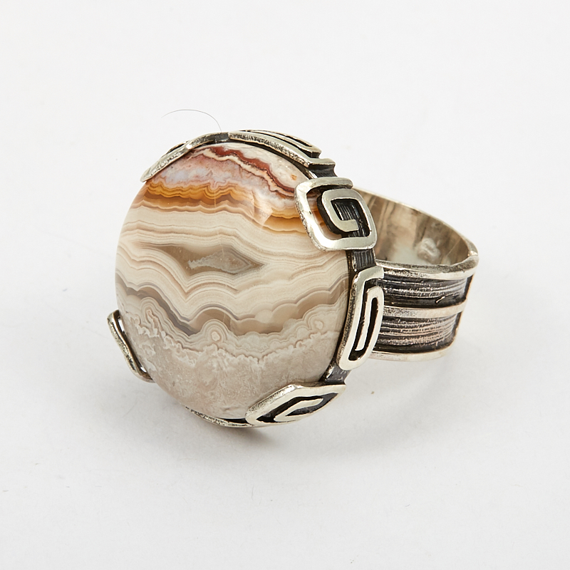 Кольцо агат леопардовый  (серебро 925 пр.) размер 18