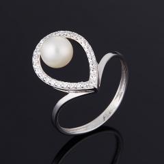 Кольцо жемчуг белый Гонконг (серебро 925 пр.) размер 17