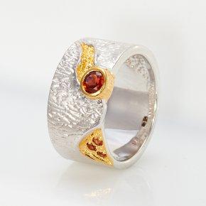Кольцо гранат альмандин Индия огранка (серебро 925 пр., позолота) размер 17,5