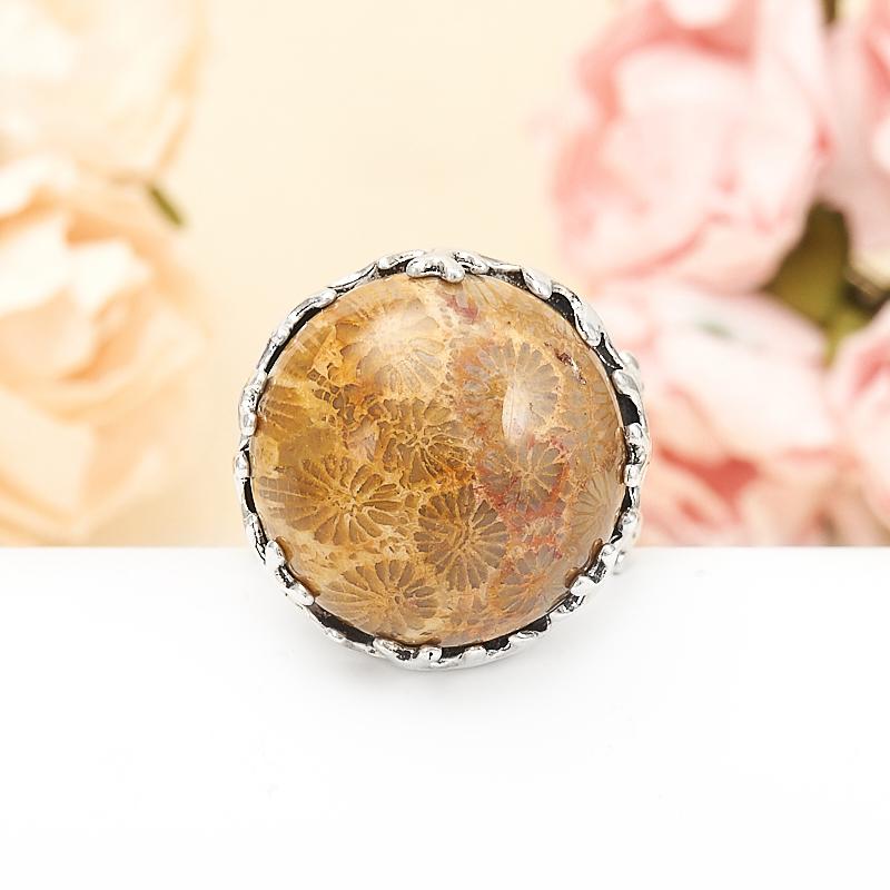Кольцо коралл  (серебро 925 пр.) размер 18,5