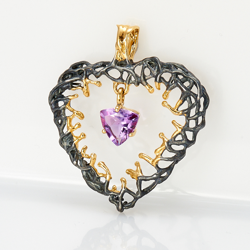 Кулон аметист  сердечко огранка (серебро 925 пр., позолота)
