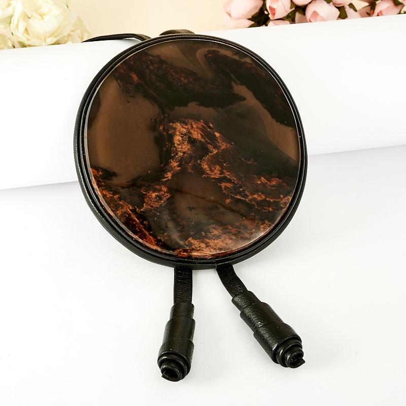 Подвеска обсидиан круг (натуральная кожа) подвеска лабрадор ромб натуральная кожа