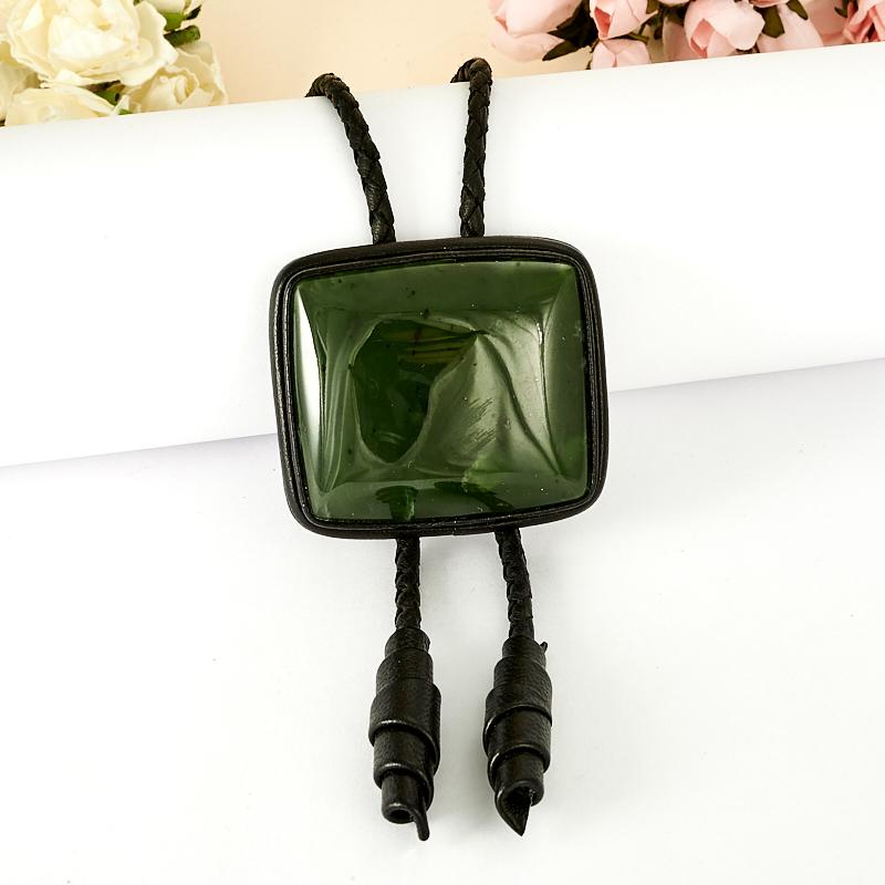Подвеска нефрит зеленый  прямоугольник (натуральная кожа)