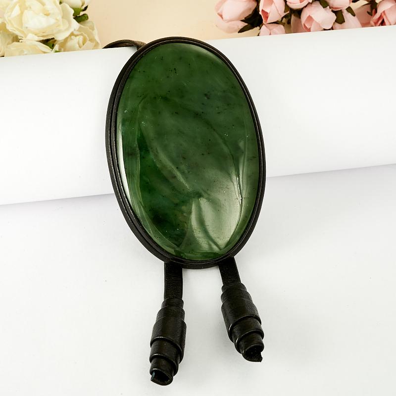 Подвеска нефрит зеленый  овал (натуральная кожа)