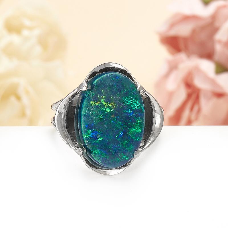 Кольцо опал благородный синий (триплет)  (серебро 925 пр.) размер 18.5