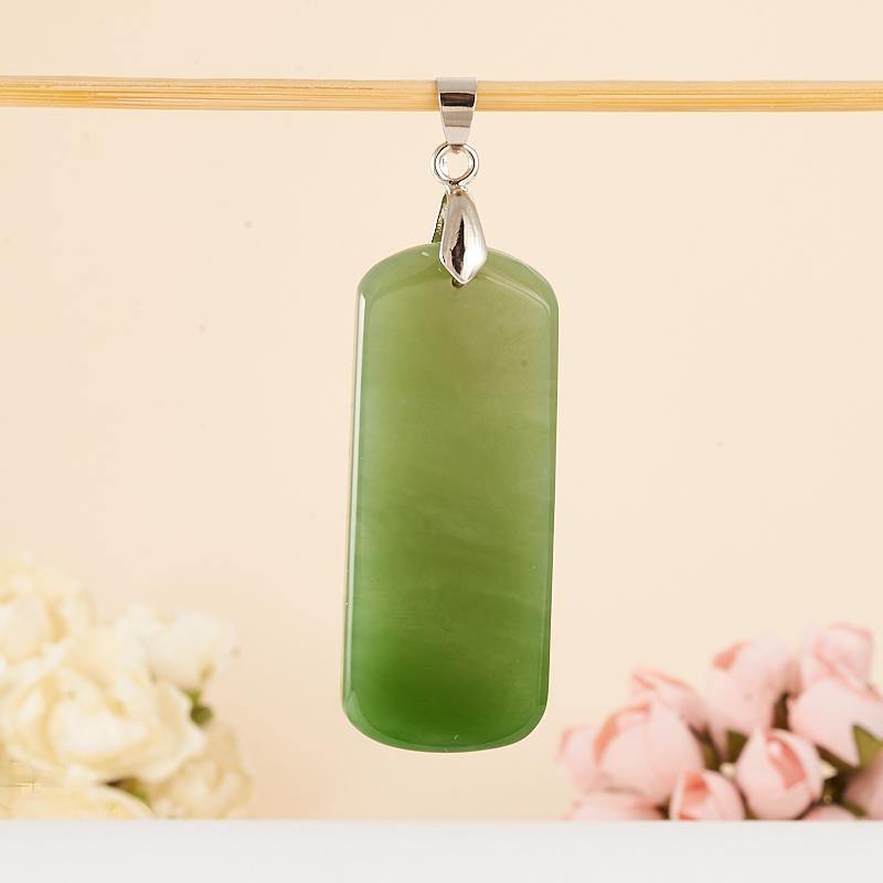 Кулон нефрит зеленый  (хир. сталь) 6,5 см бусина авантюрин зеленый шайба 6 6 5 мм 1 шт