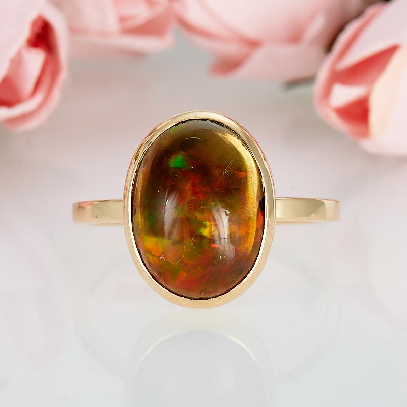 Кольцо опал благородный черный  (золото 585 пр.) размер 17