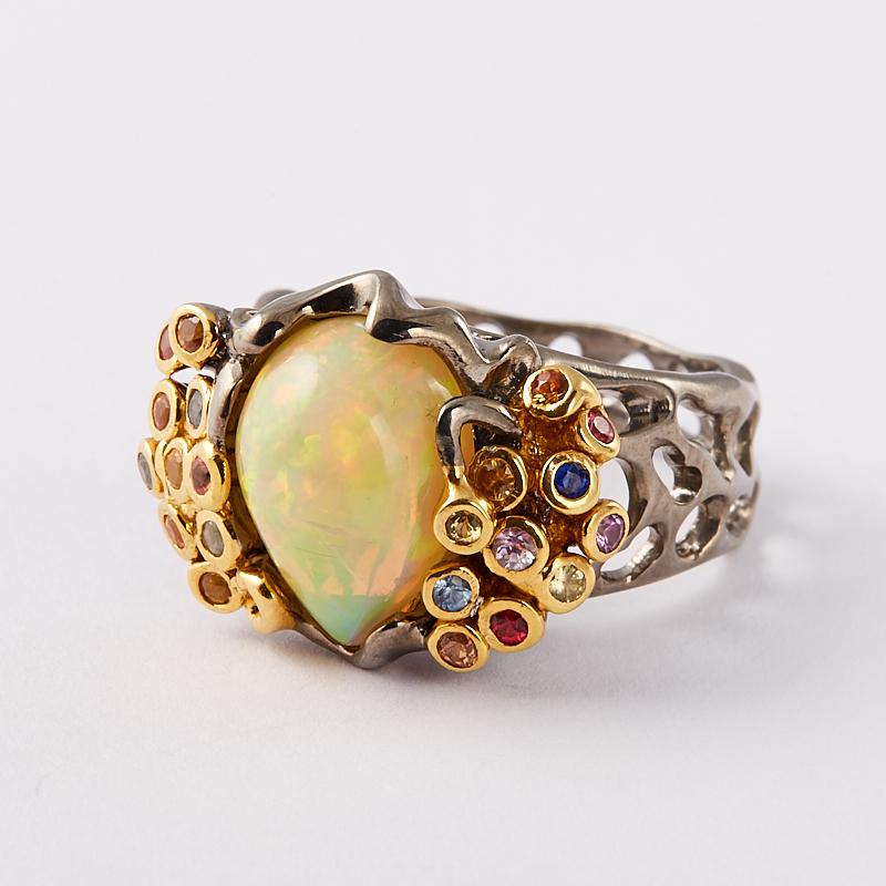 Кольцо опал благородный желтый (серебро 925 пр., позолота) размер 18,5 колье микс аметист раухтопаз топаз лондон огранка 44 см серебро 925 пр