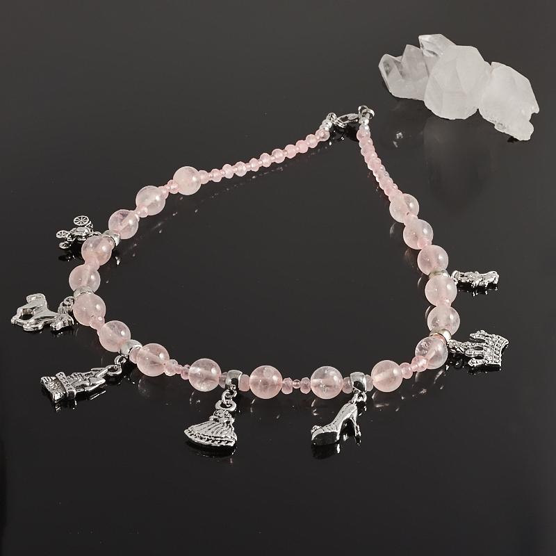 Бусы розовый кварц  40 см