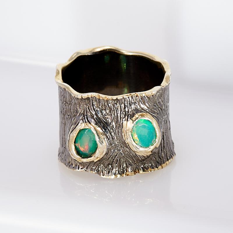Кольцо опал благородный  огранка (серебро 925 пр., позолота) размер 17