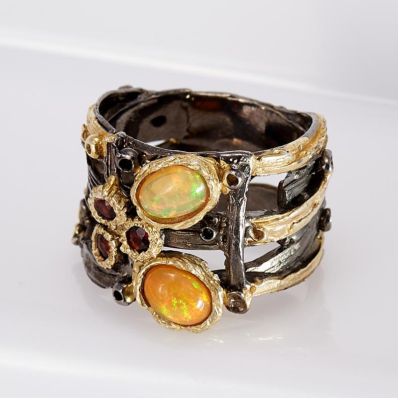 Кольцо опал благородный желтый  (серебро 925 пр., позолота) размер 19
