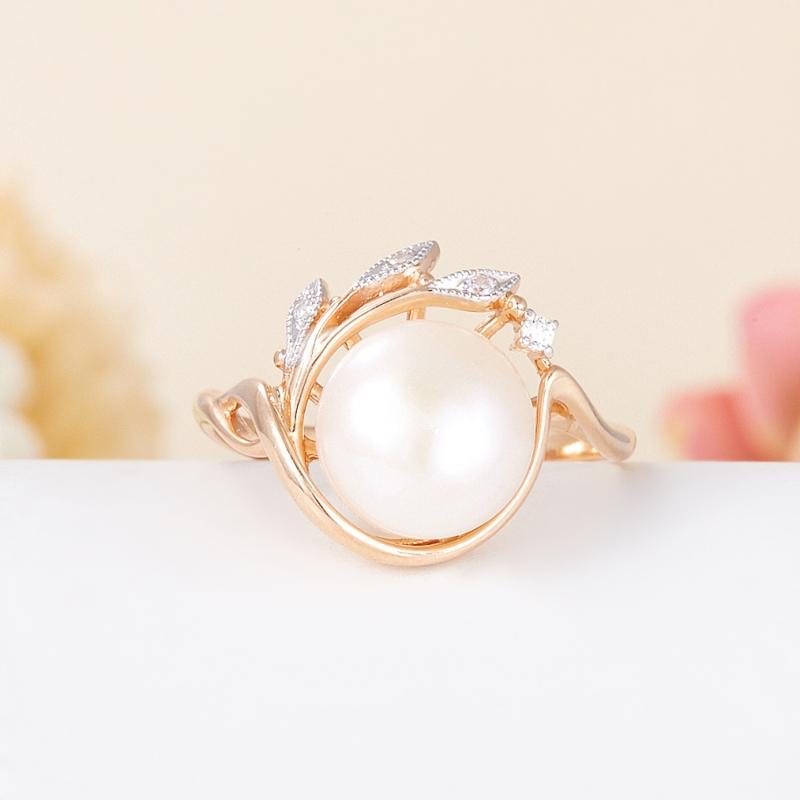 Кольцо жемчуг белый  (серебро 925 пр., позолота) размер 20,5