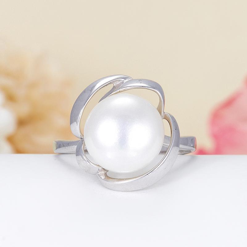 Кольцо жемчуг белый  (серебро 925 пр.) размер 19