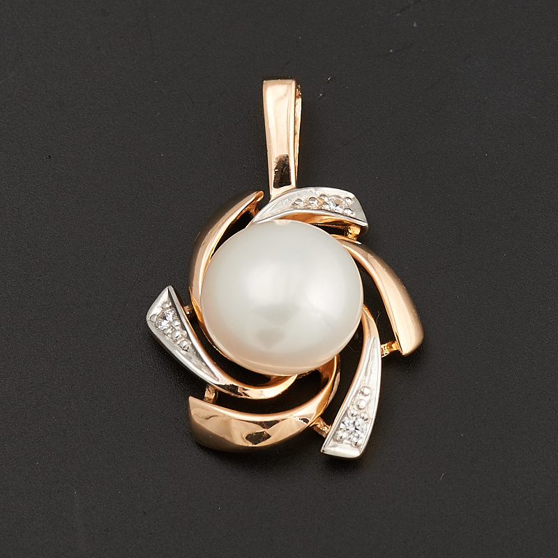 Кулон жемчуг белый  (серебро 925 пр., позолота)