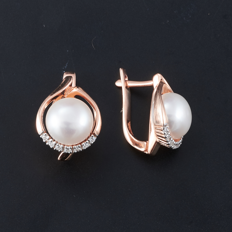 Серьги жемчуг белый  (серебро 925 пр., позолота)