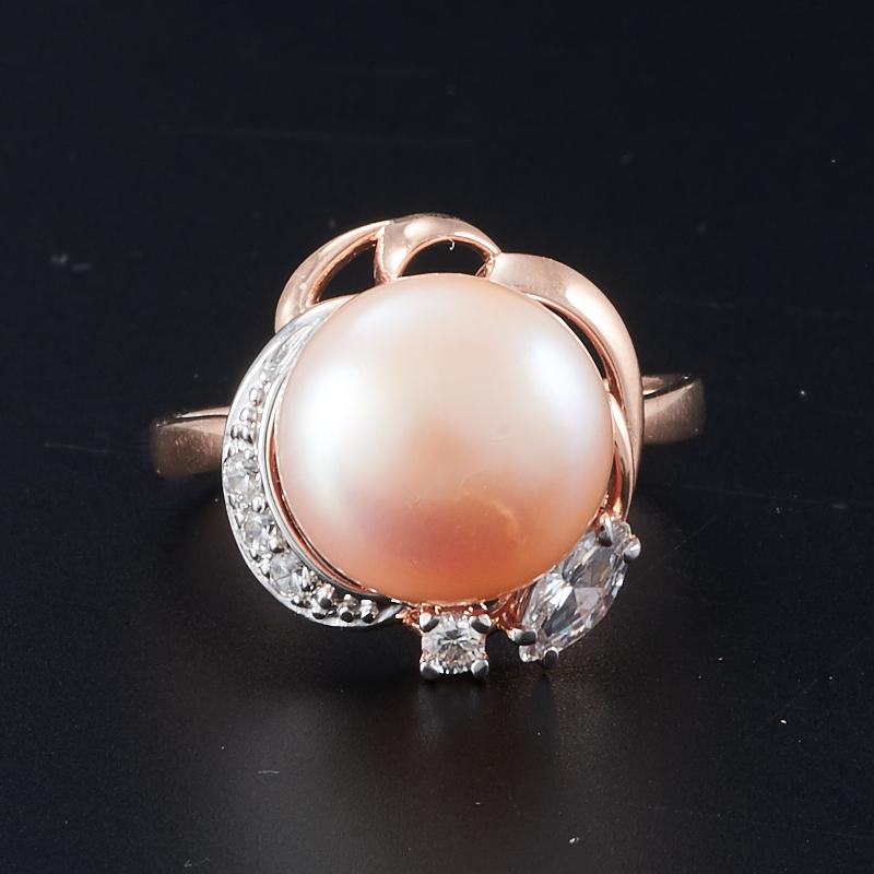 Кольцо жемчуг персиковый  (серебро 925 пр., позолота) размер 17,5