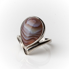 Кольцо агат серый Ботсвана (серебро 925 пр.) размер 18,5