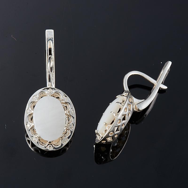Серьги перламутр белый (серебро 925 пр.)
