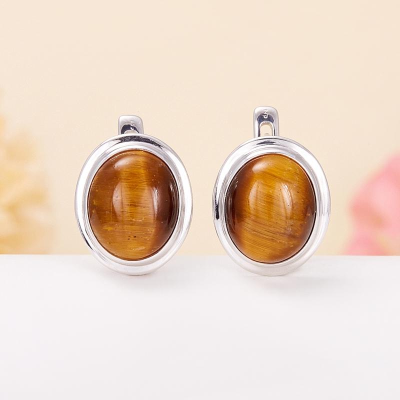 Серьги тигровый глаз  (серебро 925 пр.)