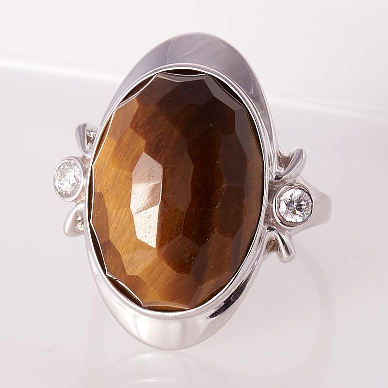 Кольцо тигровый глаз  огранка (серебро 925 пр.) размер 19
