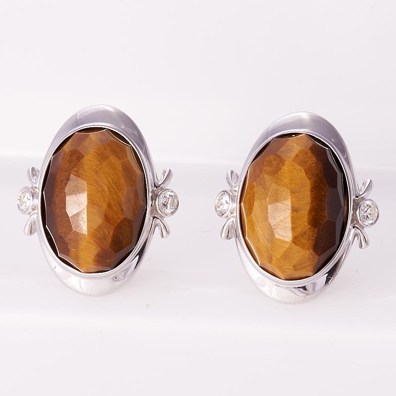 Серьги тигровый глаз  огранка (серебро 925 пр.)