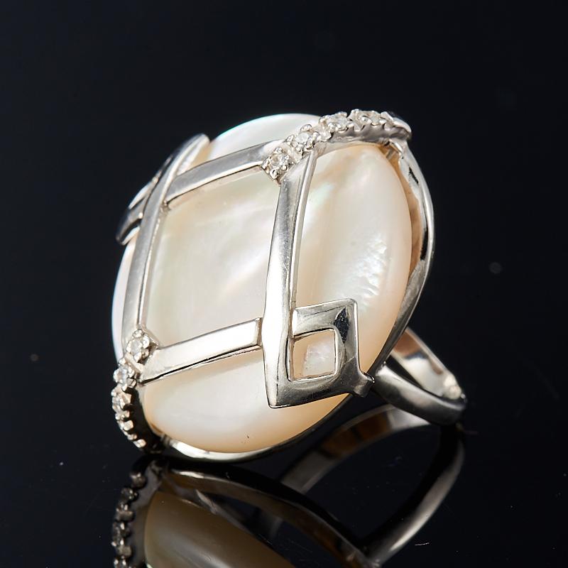 Кольцо перламутр белый  (серебро 925 пр.) размер 16,5