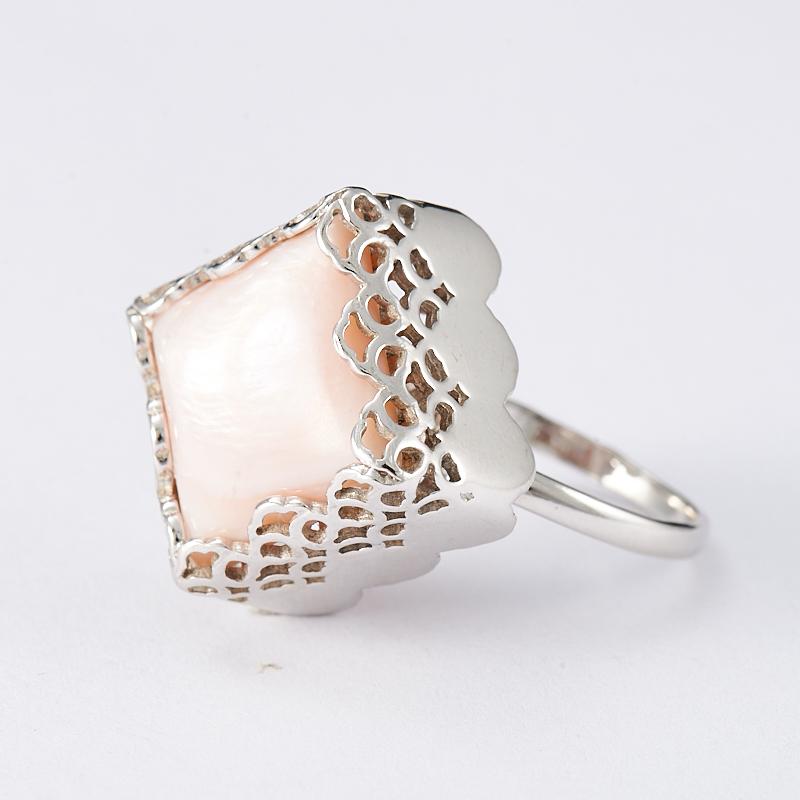 Кольцо перламутр розовый  (серебро 925 пр.) размер 18
