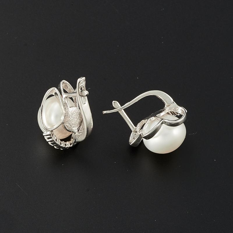 Серьги жемчуг белый  (серебро 925 пр.)