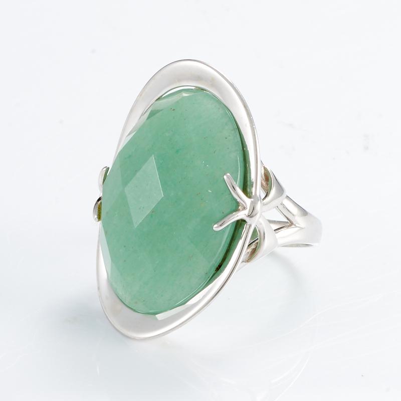 Кольцо авантюрин зеленый  огранка (серебро 925 пр.) размер 19,5