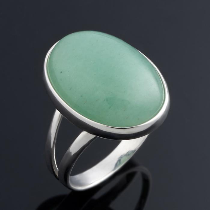 Фото Кольцо авантюрин зеленый (серебро 925 пр.) размер 17