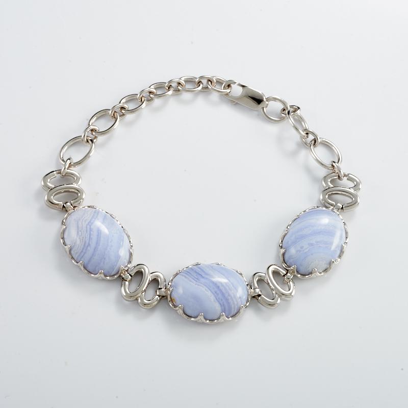 Браслет агат голубой  20 cм (серебро 925 пр.)