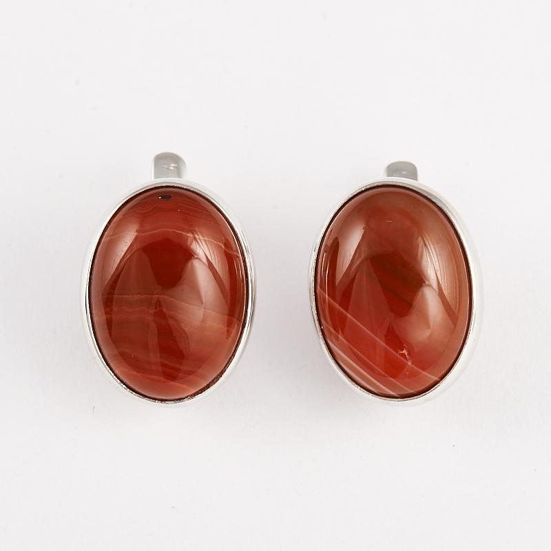 Серьги агат красный  (серебро 925 пр.)