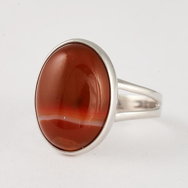 Кольцо агат красный (серебро 925 пр.) размер 17