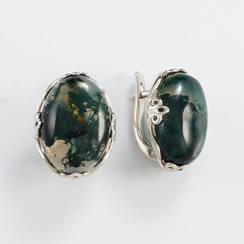 Серьги агат моховой  (серебро 925 пр.)