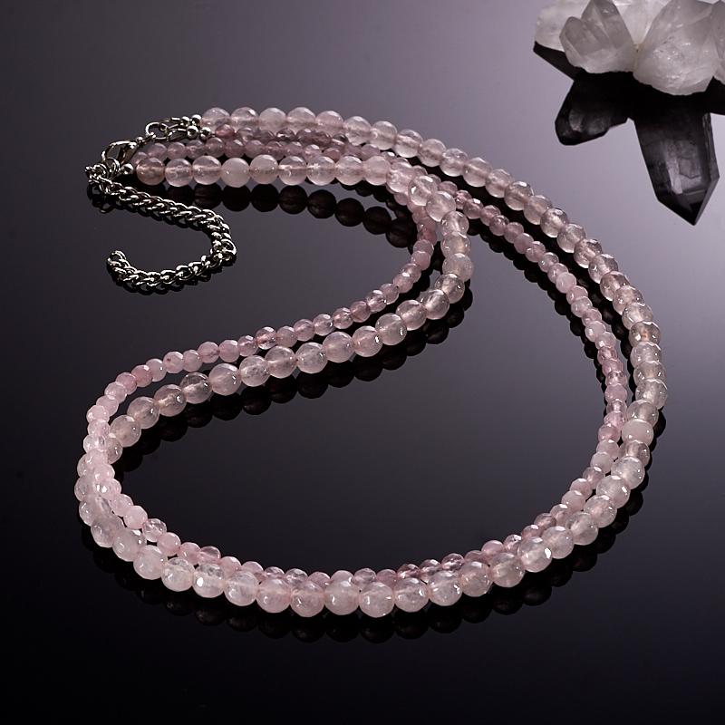 Бусы розовый кварц  огранка 50-57 см