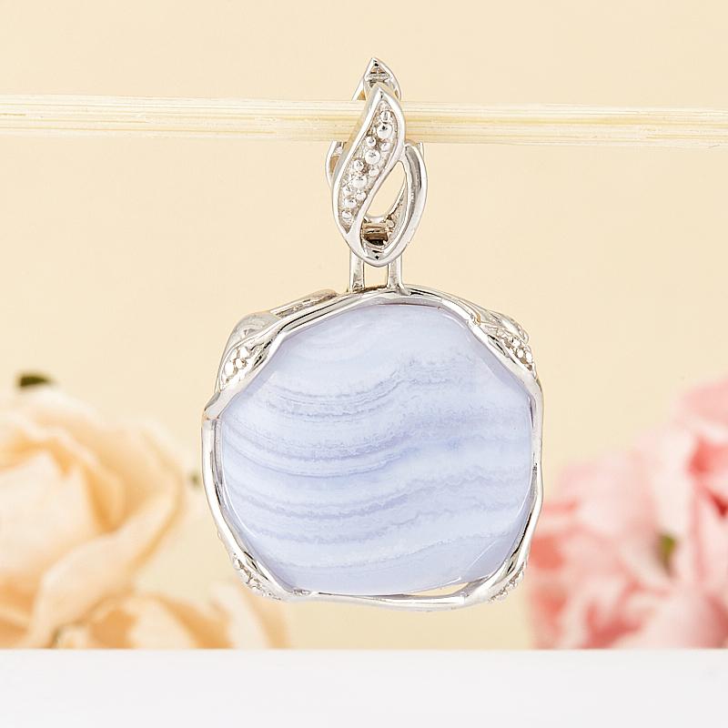 Кулон агат голубой  (серебро 925 пр.)
