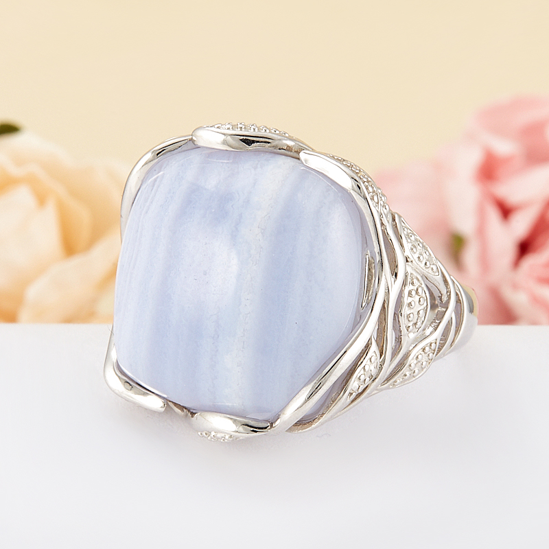 Кольцо агат голубой  (серебро 925 пр.) размер 20