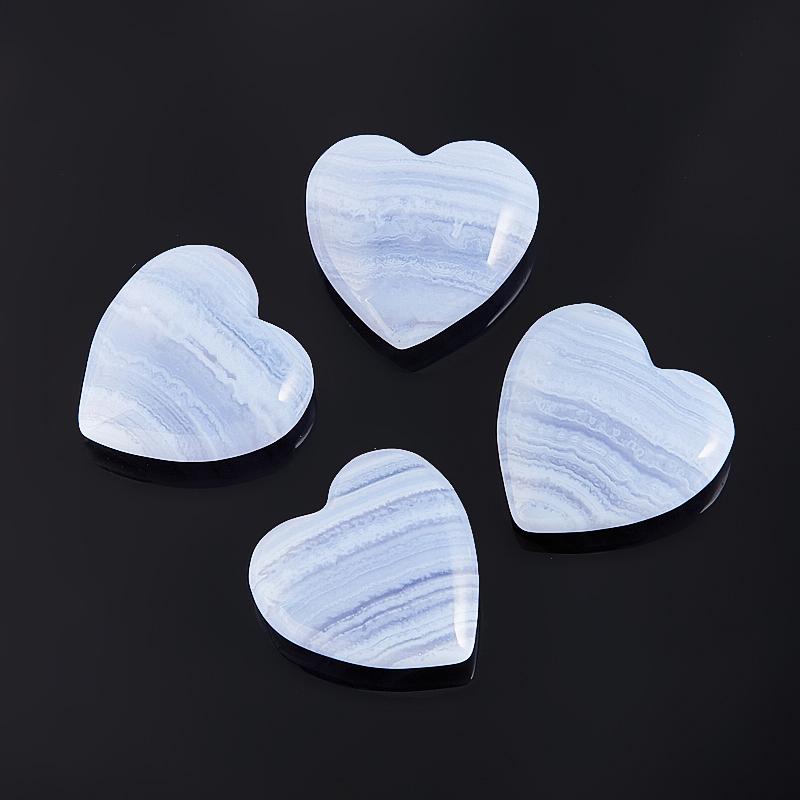 Сердечко агат голубой  2 см