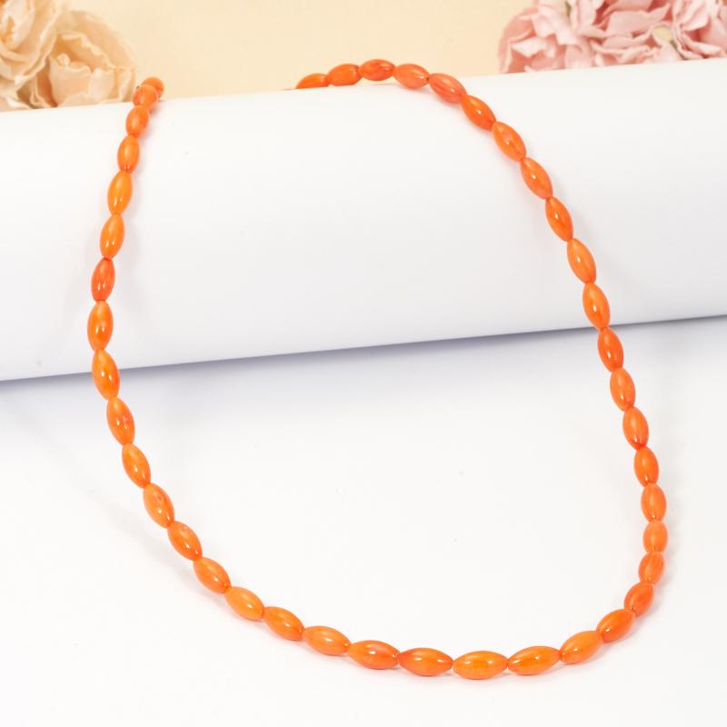 Бусы коралл оранжевый  57-64 см