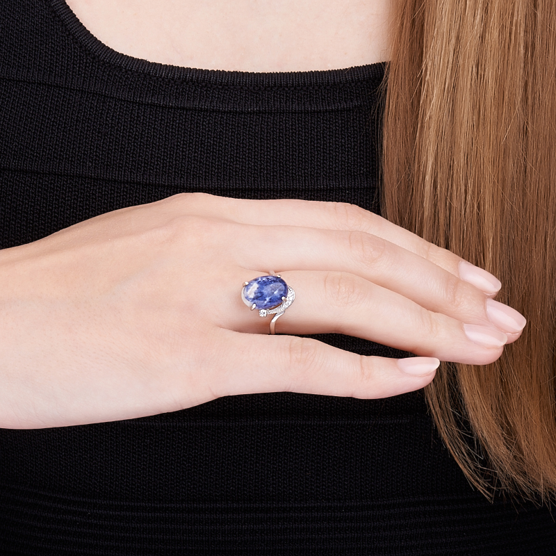 Кольцо содалит Россия (серебро 925 пр.) размер 14,5