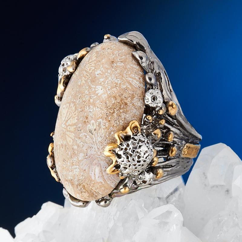 Кольцо коралл  (серебро 925 пр., позолота) размер регулируемый