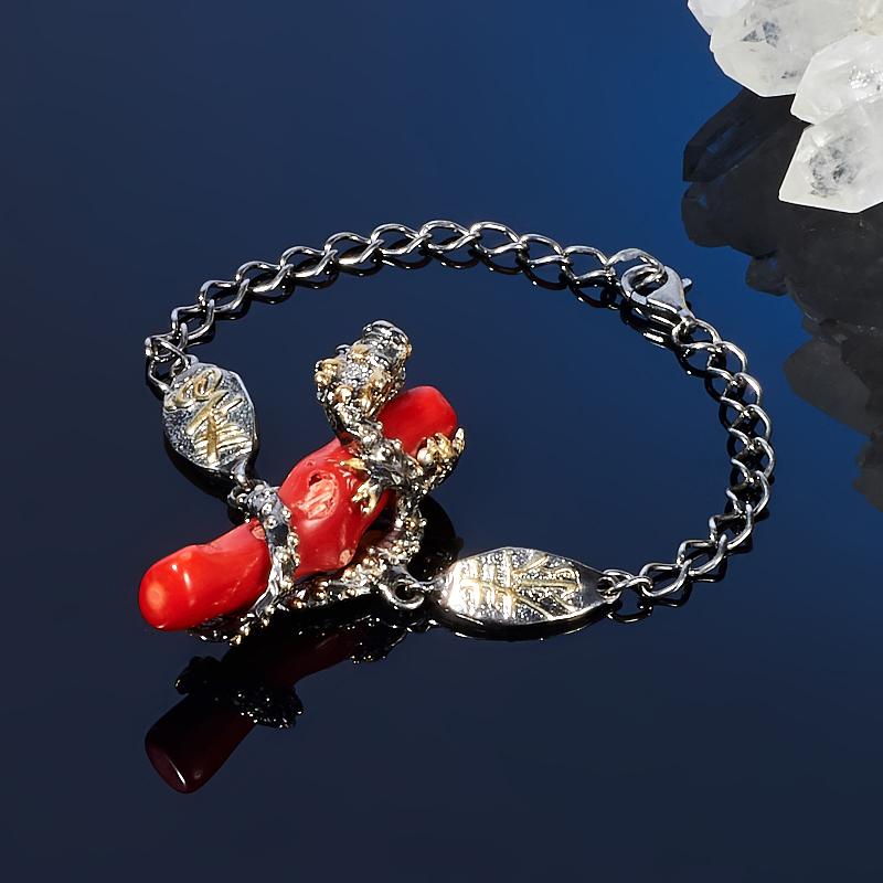 Браслет коралл красный 18 cм (серебро 925 пр., позолота)