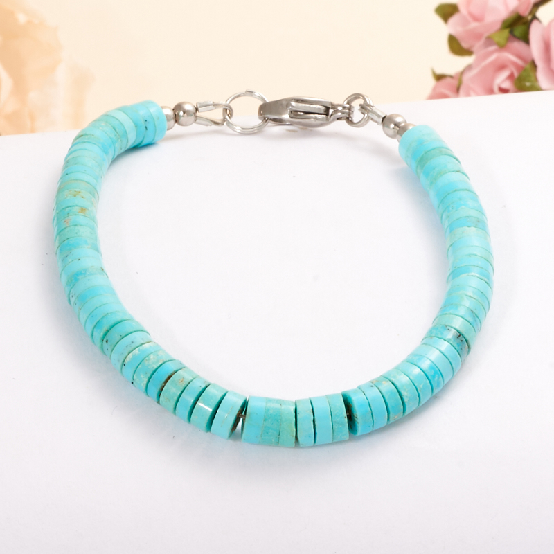 Браслет бирюза  16 cм (хир. сталь) браслеты indira браслет бирюза коралл gl0143