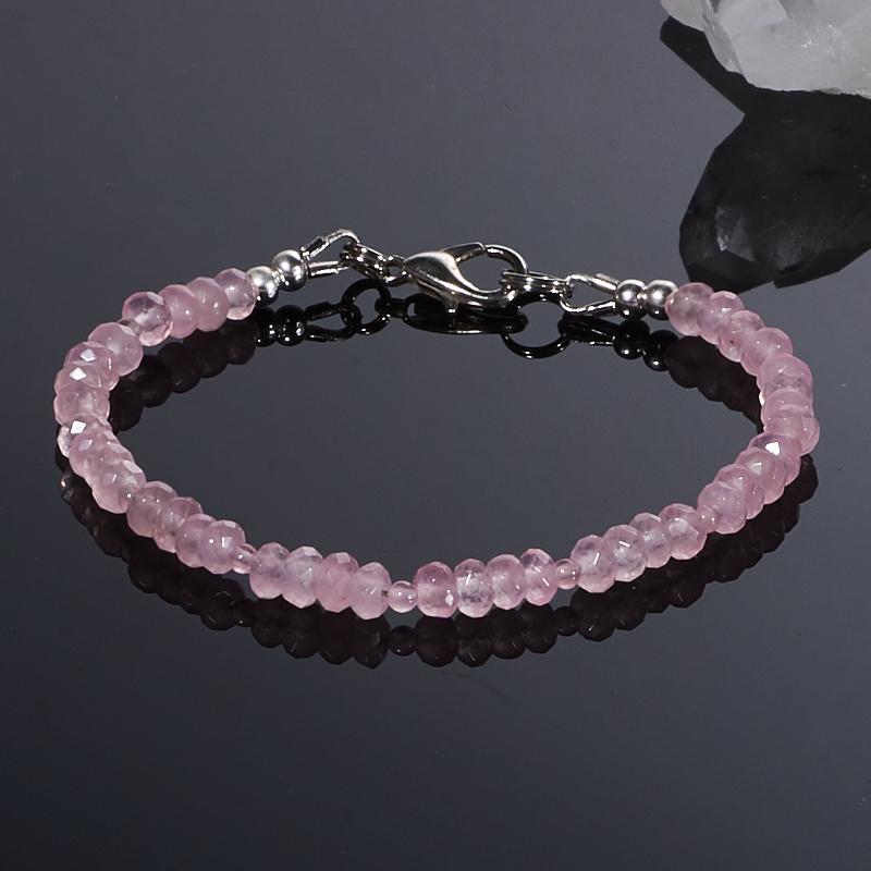 Браслет розовый кварц  огранка 15 cм