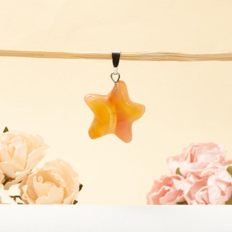 Кулон сердолик  звезда 2,5-3 см