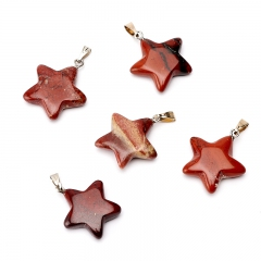 Кулон яшма красная ЮАР (биж. сплав) звезда 2,5-3 см