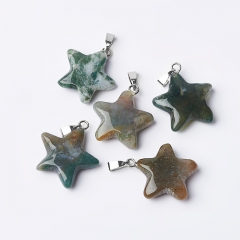 Кулон агат моховой Индия звезда 2,5-3 см
